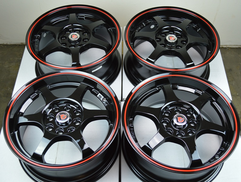 15 Black Wheels Rims Toyota Corolla Yaris Paseo Elantra Aveo Versa Tiburon Civic